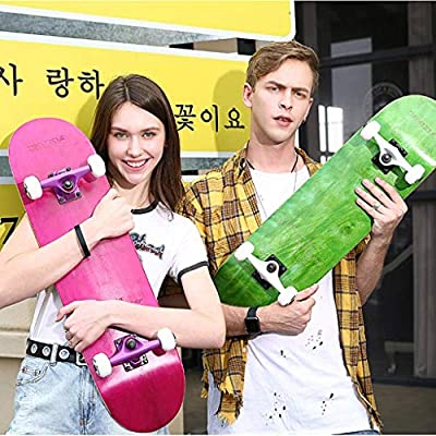 ZYL-YL Scooters Professional Board Double Rocker Adult Children Universal Beginner 4 Wheel Boys and Girls Use Brush Street Travel Skateboard (Color : Pink, Size : 79 20.5 10CM) Scooter : Sports & Outdoors