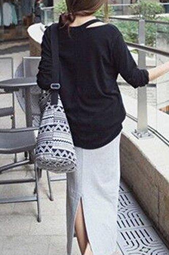 Mujeres Hombro Frio De Manga Larga De Un Hombro Loose T Shirt Blusas Tops Black