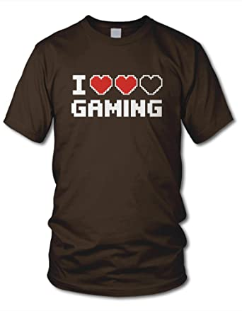 shirtloge - I LOVE GAMING - KULT - Gamer T-Shirt - Braun - Größe