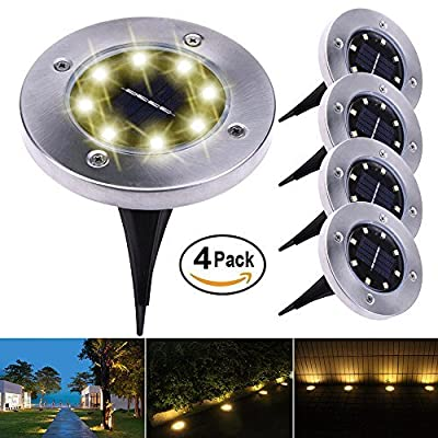 Trydo 4-Pack Waterproof In-Ground Disk Landscape Solar Lights Outdoor with 8-LED for Outdoor Lighting Patio Lawn Pathway (Warm White)