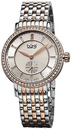 Burgi Women's BUR099TTR Swiss Quartz Diamond Dial Silver-tone & Rose-tone Stainless Steel Bracelet Watch