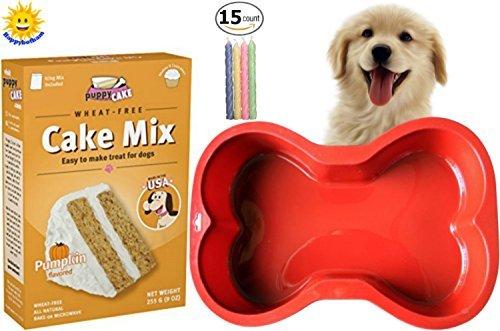 Happybotham Puppy Cake Pumpkin Cake Mix Frosting (Wheat-Free) Dogs | Red Silicone Dog Bone Cake Pan | Birthday Candles