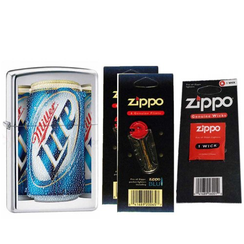 Zippo 28250 MillerCoors High Polish Chrome Lite Windproof Pocket Lighter with Two Flint Card and One Wick Card