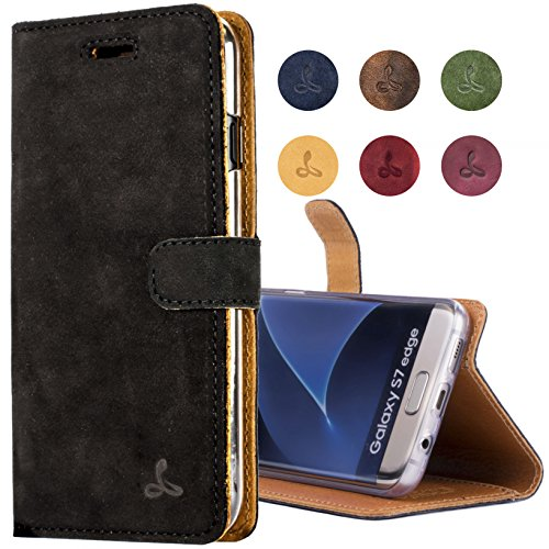 - SnakeHive Galaxy S7 Edge Case, Vintage Collection Samsung Galaxy S7 Edge Wallet Case in Nubuck Leather with Credit Card/Note Slot (Black)