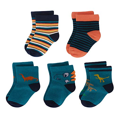 Toddler Little Kids Athletic Crew Socks Cotton Grips Socks for Boys 5 Pairs Deep Green 4-7 Years