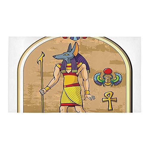 C COABALLA Egyptian Decor Rectangular Bath Rug,Graphic of Anubis of Old Egypt in Papyrus Style Ancient Myth Symbols Heritage for Bathroom,28