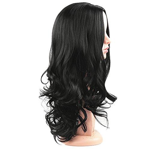 Golden Rule las pelucas de las mujeres pelucas rizadas largas onduladas naturales negras sintéticas forman la parte media de la peluca diaria del vestido 56 ...