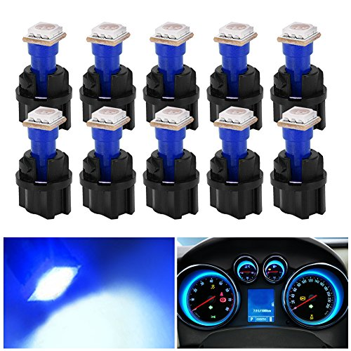 YITAMOTOR 10 Pack Blue T5 Wedge 73 74 led 5050 1-SMD Instrument Panel Gauge Cluster Dashboard LED Light Bulbs & 10 Twist Lock Socket