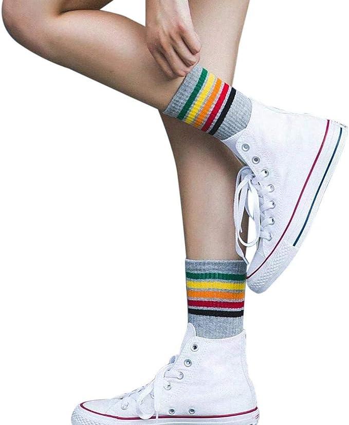 VJGOAL Mujer Otoño E Invierno Moda casual Color sólido Rayado Color Algodón Cálido Transpirable Sox Medias medias calcetines(Un tamaño,Gris): Amazon.es: Ropa y accesorios