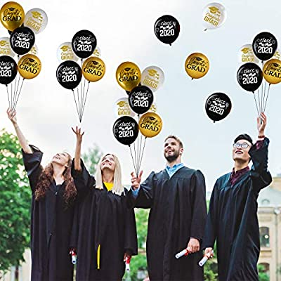 30 Pieces 12 Inch 2020 Graduation Party Latex Balloons Class of 2020 Party Decoration, White, Gold and Black Party Balloons for Graduation Party Supplies, 2020 Graduation Decorations Indoor/Outdoor: Toys & Games