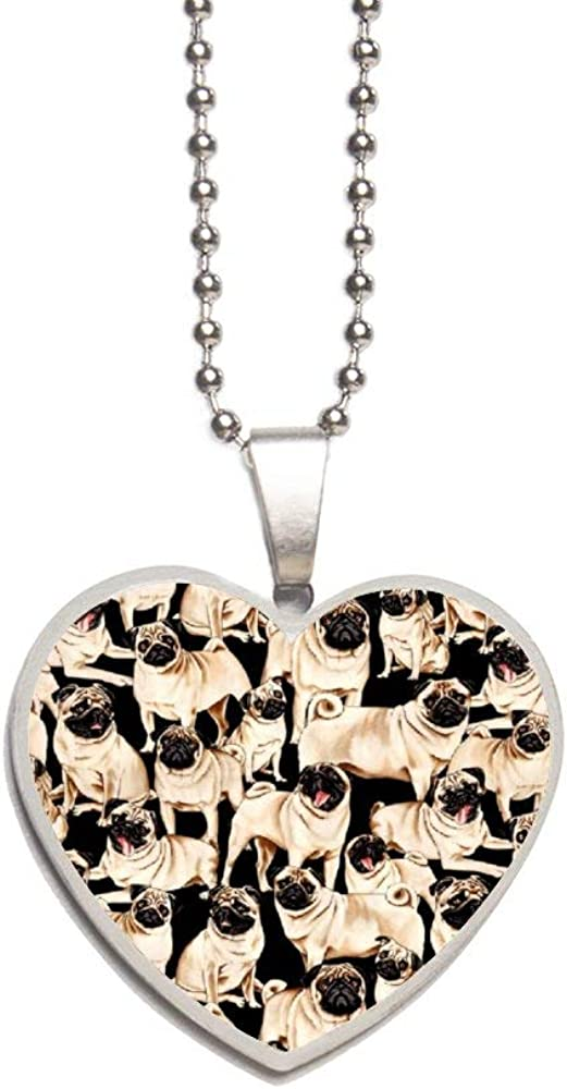 Pug Dog Necklace Personalized Engraved Heart Custom Gift Pendant-Valentines Day Love