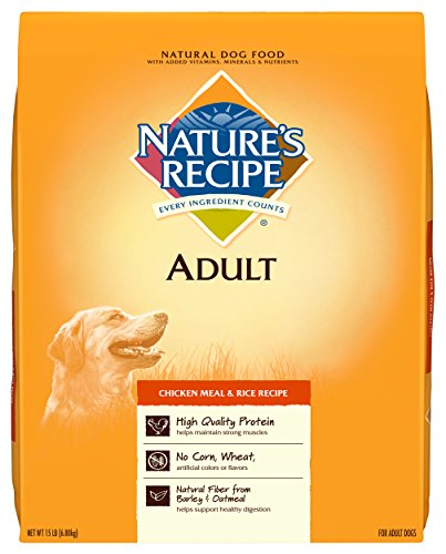 Nature'S Recipe Adult Dog Food Dry, Chicken Meal & Rice Recipe, 15-Pound