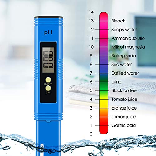 Yeslike Digital PH Meter, PH Meter 0.01 PH High Accuracy Water Quality Tester with 0-14 PH Measurement Range for Household Drinking, Pool and Aquarium Water PH Tester Design with ATC (Blue) by Yeslike (Image #3)