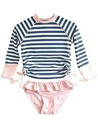 50107b114b589 Kids Swimsuits Girl's Two-Piece Long Sleeve Sun Protection Swimsuits Stripe  Bathing Suit UPF50+ Rash