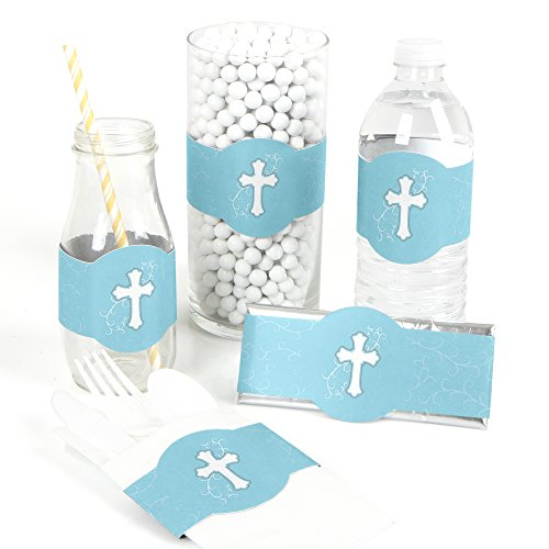 Little Miracle Boy Blue & Gray Cross - Baptism DIY Party Wrapper Favors - Set of 15