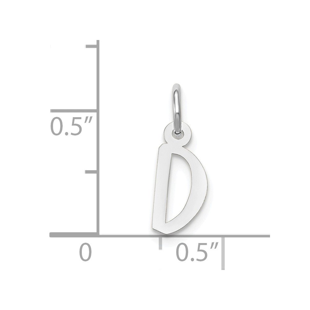Mia Diamonds 14k White Gold Small Slanted Block InitialD Charm