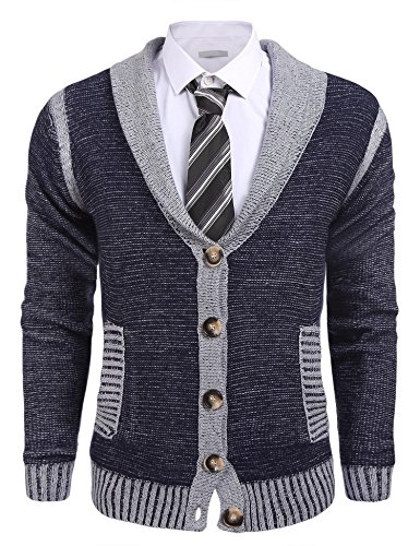 Coofandy Mens Long Sleeve Shawl Collar Knitted Slim Fit Button Cardigan Sweaters,Medium,Navy Blue