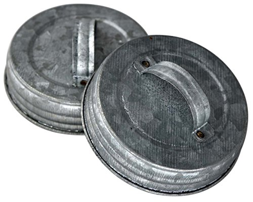 Galvanized Canister Handle Lid For Mason, Canning Jars (4 Pack, Wide Mouth)