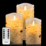 Vinkor Flameless Candles Led Candles Set of 9(H 4' 5' 6' 7' 8' 9' xD 2.2') Ivory Real Wax Battery Operated Candles with Remote Timer (Batteries not Included)