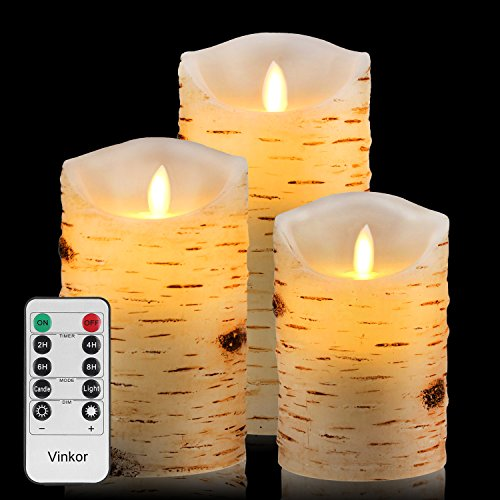 Vinkor Flameless Candles Flickering Candles Birch Bark Set of 5 6