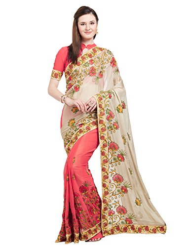 r Women's Peach & Beige Color Faux Georgette & Chiffon Half & Half Saree with Un-Stiched Blouse Piece,Free Size ()