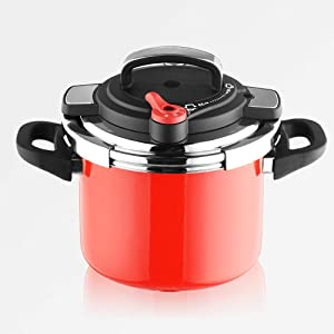 6.5L Pressure Cooker 304 Stainless Steel Pressure Cooker Red Enamel Household Commercial Induction Cooker Gas Universal Pressure Cooker