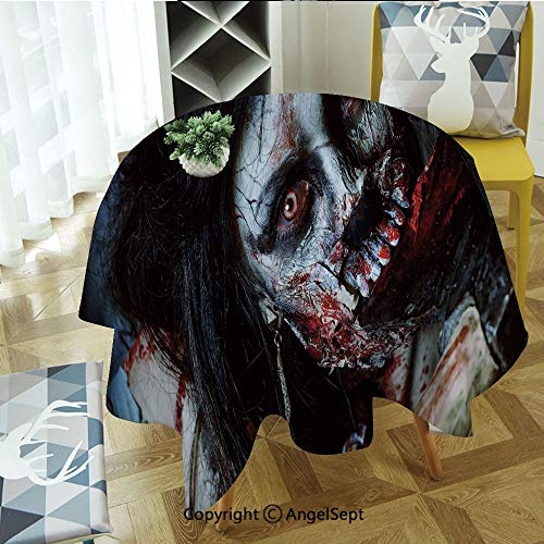 Round Tablecloth Scary Dead Woman with Bloody Axe