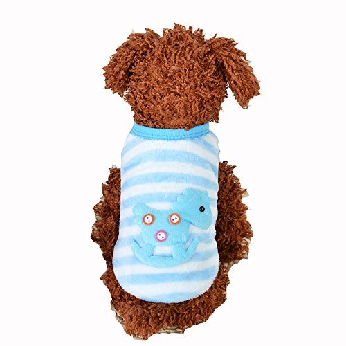 MD New Cute Baby Pet Clothes Teacup Dogs Clothing Puppy Winter Warm Thick Sweaters (XXXS, Blue)