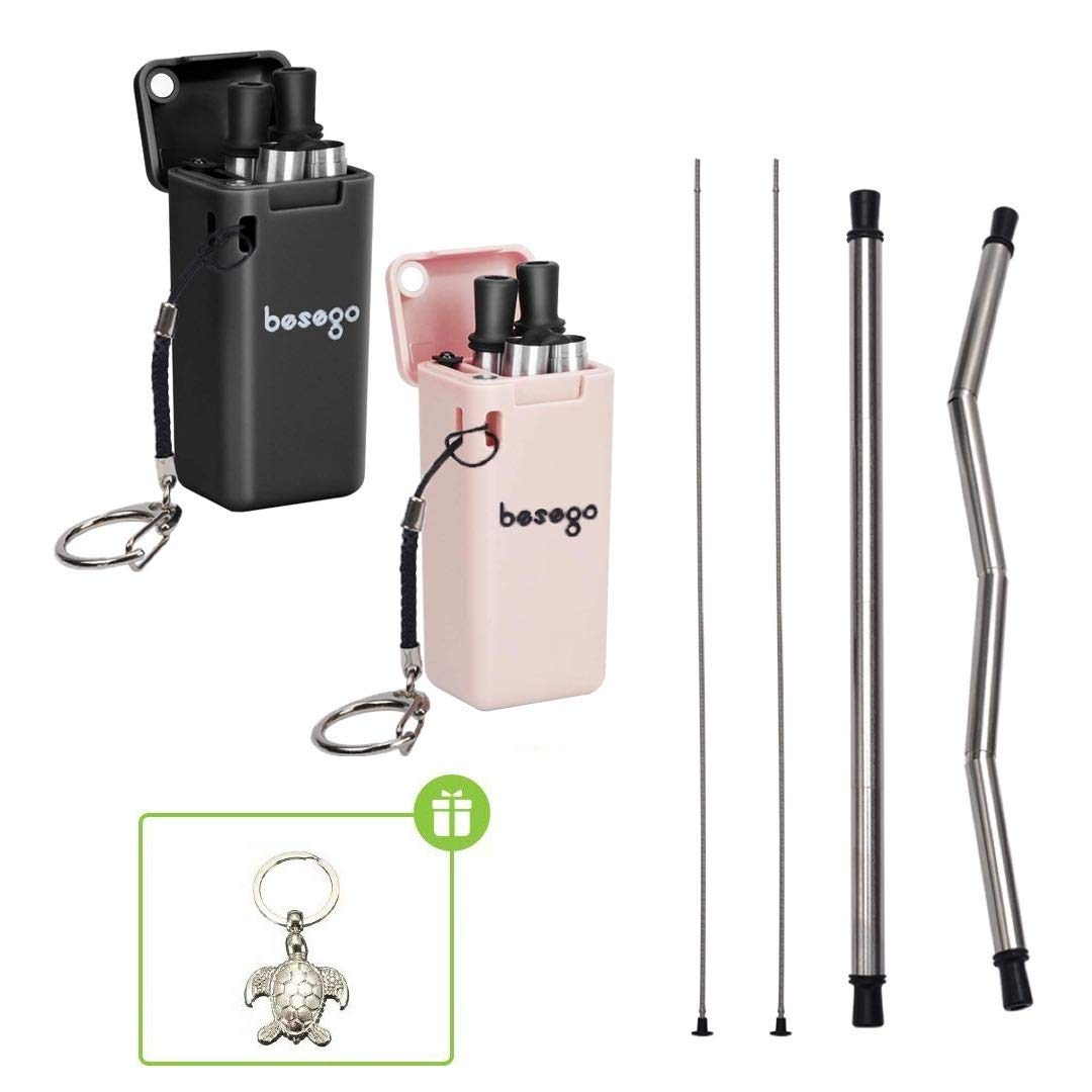 Besego 2Pcs Reusable Straws, Turtle Straw with Sea Turtle Keychain & Cleaning Brush, Stainless Steel Drinking Straw, Portable Straws for Travel and Home (4 Colors) by Besego