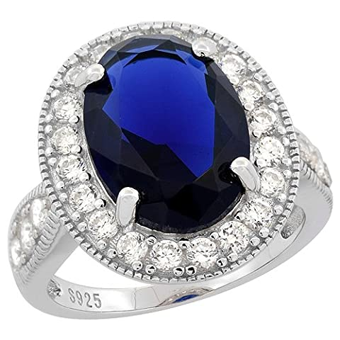 Sterling Silver Large Oval Created Blue Sapphire Ring CZ Accents Rhodium Finish, 3/4 inch wide, size - Oval Created Sapphire Solitaire Ring