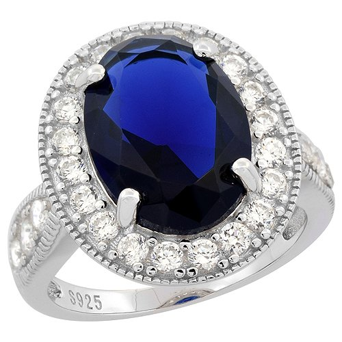 Sterling Silver Sapphire Accents Rhodium