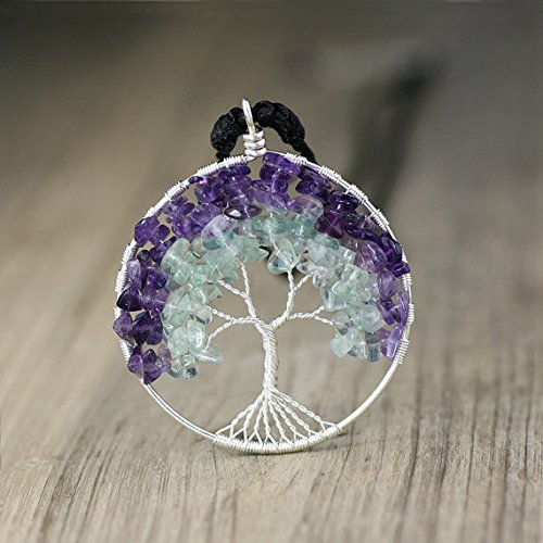 - NewDreamWorld Fluorite Tree of Life Necklace-Amethyst Pendant Necklace, Sterling Silver Circle