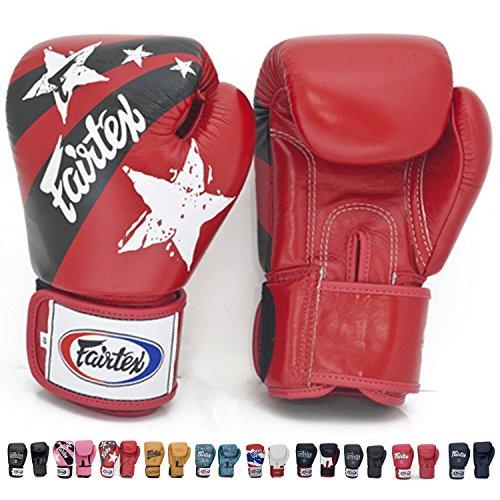 Fairtex Muay Thai-Style Sparring Glove,Red/Black,14 oz ()