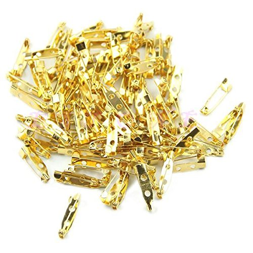 Laliva Accessories - 100pcs/lot DIY Safety Pins Brooch Jewelry Accessory Open Jump Split Rings Connector for DIY Jewelry Findings Making 3 Color 20mm - (Color: Gold)