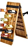 Gourmet Basics by Mikasa 48 Monterey Bottle Wine Rack with Antique and Acacia Wood, Black For Sale