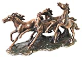 Four Mongolian Wild Horses Running In Group Stallion Bronze Electroplated Statue