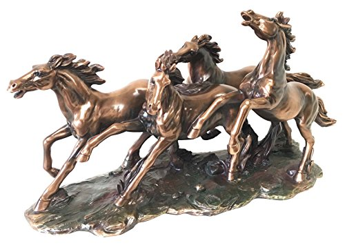 Four Mongolian Wild Horses Running In Group Stallion Bronze Electroplated Statue by Figure