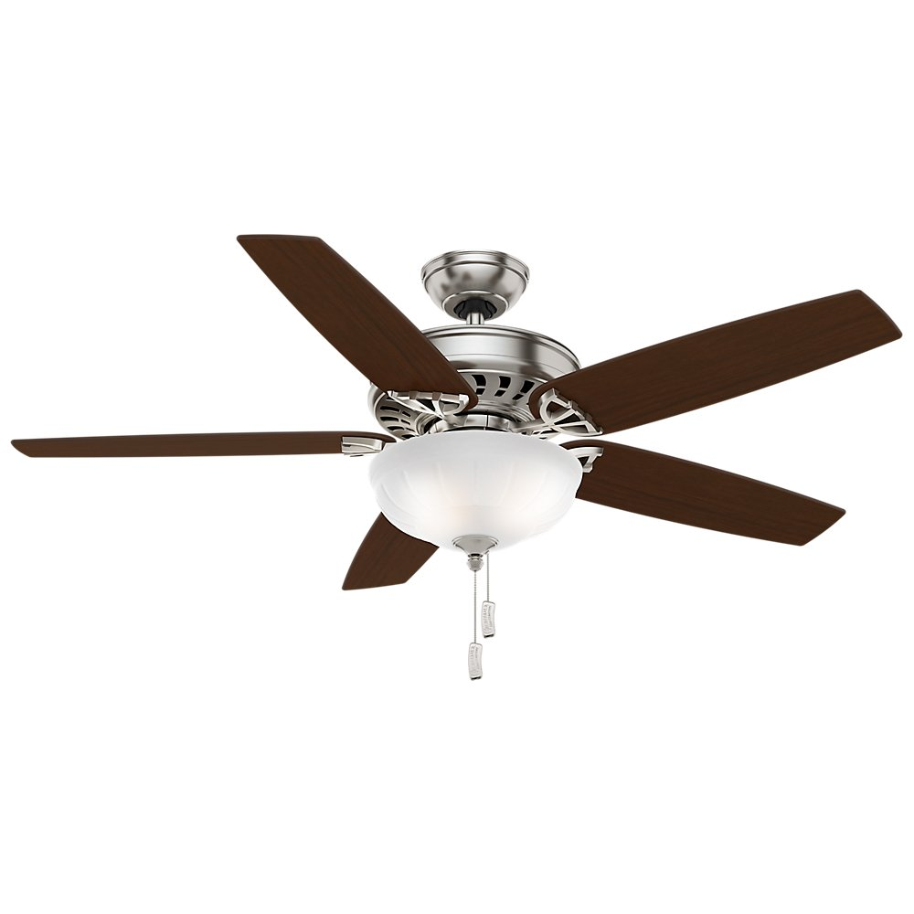 Casablanca 54023 Concentra Gallery 54-Inch 5-Blade Single Light Ceiling Fan, Brushed Nickel with Walnut/Burnt Walnut Blades and Cased White Glass Bowl Light by Casablanca (Image #4)