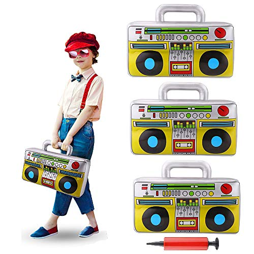 3 Pieces 16.7inch Inflatable Boombox Toy 80's 90's Boom Box Party Supplies for Old School Themed Party,Hip Hop Adults Costume Accessories and Rappers B-Boys Party ()