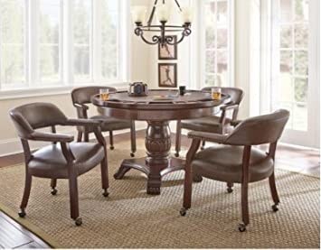 Talley dining table with poker game top and 4 chairs support tv pied roulettes