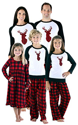 SleepytimePjs Holiday Family Matching Fleece Deer Plaid Pajama PJ Sets-Mens (STMF-5007-M-XL)