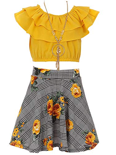 Big Girls Mustard Off Shoulder Crop Ruffle Layered Top and Skirt Set Outfit USA Size 14 (Girls Size 10 Crop Top)