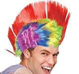 RAINBOW LIGHT UP MOHAWK WIG, Case of 48