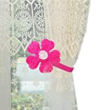 YYC 1Pair Flower Magnetic Curtain Tieback Girls Room Curtain Buckle (Rose Red)