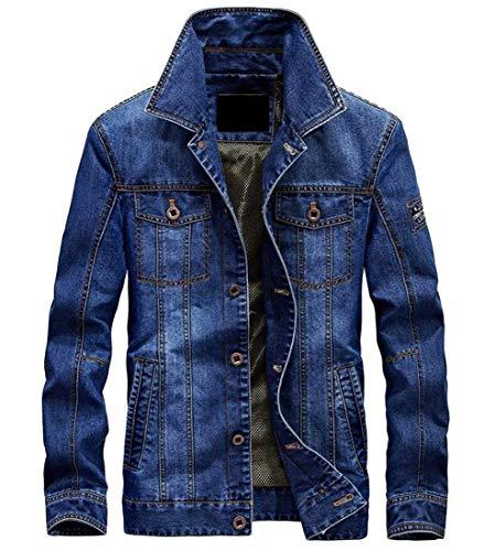 Manteau Taille Coupe À couleur De Ample Denim Blue Hommes Longues Décontractée Small Vêtements Pour Kangqi En Manches gYqwtZWH