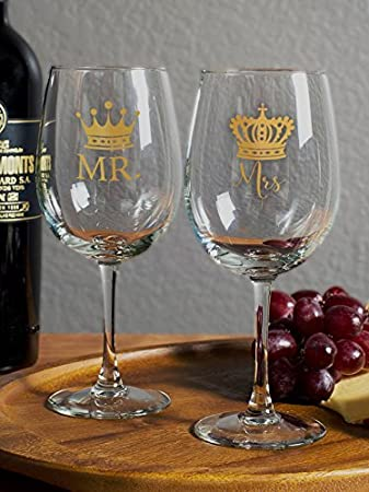 Amazon Royalty Mr And Mrs Wine Glass Set Two 12 Ounce Wine