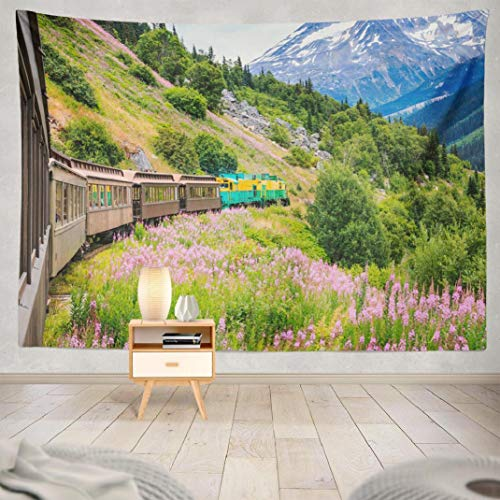 Aisiag White Tapestry, Wall Hanging Tapestry Alaska Scenic White Amp Route Railroad Wall Tapestry Dorm Home Decor Bedroom Living Room in 80X60
