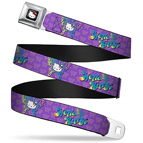 Buckle-Down Seatbelt Belt - HELLO KITTY Butterfly Purple/Pink/Multi Color Ombre - 1.5