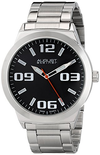 Black Dial Silver Bracelet (August Steiner Men's AS8134SSB Silver Swiss Quartz Watch with Black Dial and Silver Bracelet)