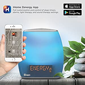 iHome Zenergy Bedside Sleep Therapy Machine Sleep Better, Easier & Longer, Zen Light & Sound Therapy Machine, Calming, Soothing Sounds, Soft Lighting, Bluetooth Audio, White Noise Machine